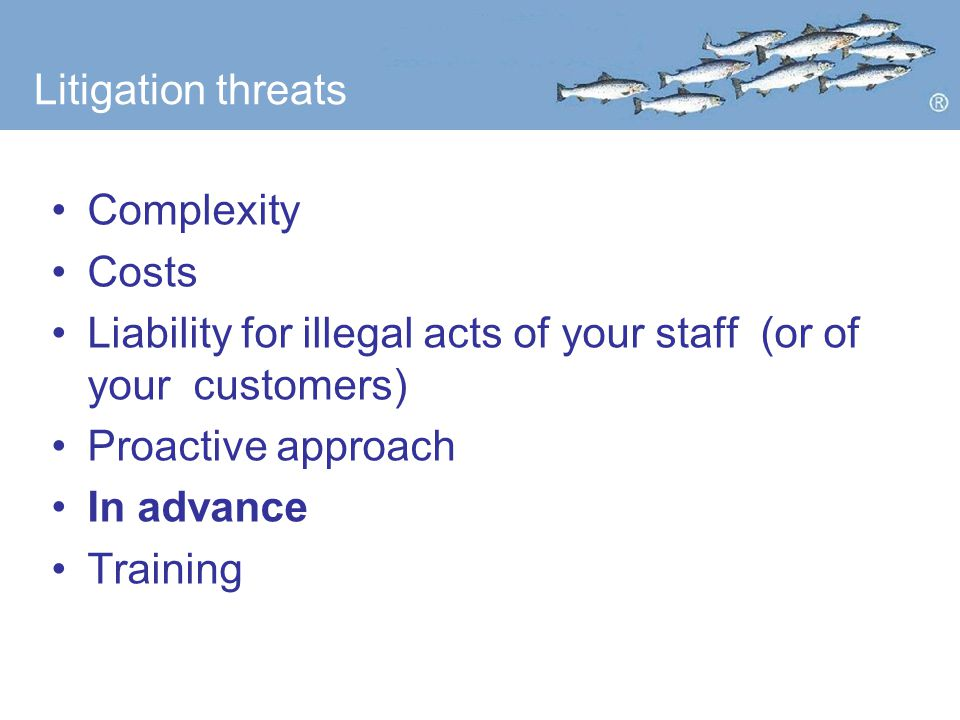 Litigation threats Complexity Costs Liability for illegal acts of your staff (or of your customers) Proactive approach In advance Training