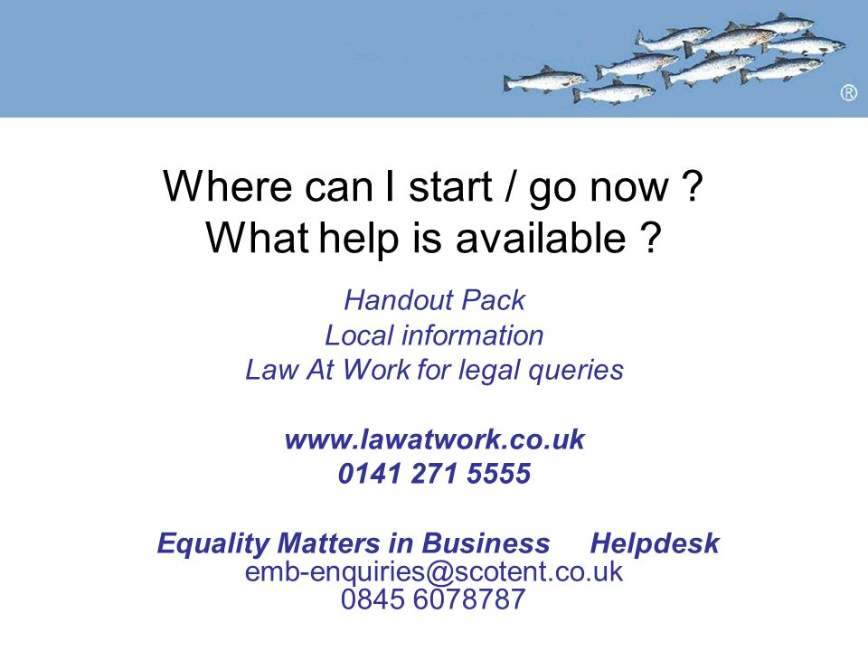 Where can I start / go now ? What help is available ? Handout Pack Local information Law At Work for legal queries www.lawatwork.co.uk 0141 271 5555 E