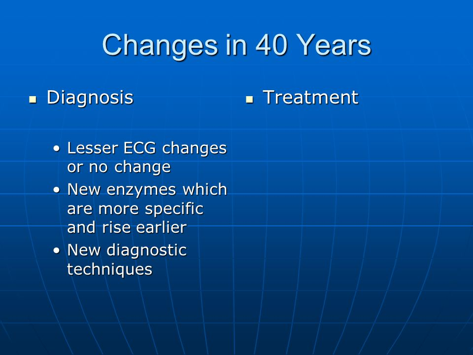 Changes in 40 Years Diagnosis Diagnosis Lesser ECG changes or no changeLesser ECG changes or no change New enzymes which are more specific and rise earlierNew enzymes which are more specific and rise earlier New diagnostic techniquesNew diagnostic techniques Treatment Treatment