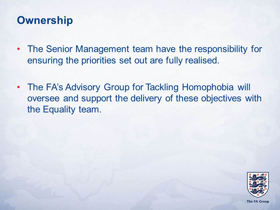 Ownership The Senior Management team have the responsibility for ensuring the priorities set out are fully realised.