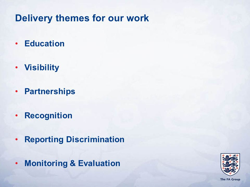 Delivery themes for our work Education Visibility Partnerships Recognition Reporting Discrimination Monitoring & Evaluation