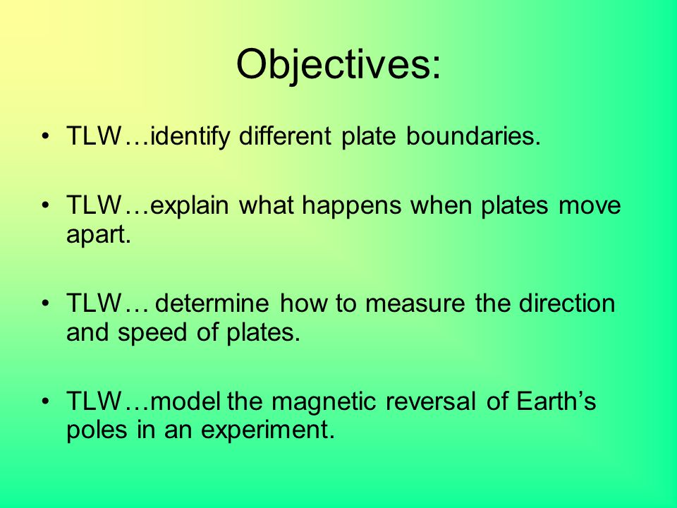 Objectives: TLW…identify different plate boundaries. TLW…explain what happens when plates move apart. TLW… determine how to measure the direction and