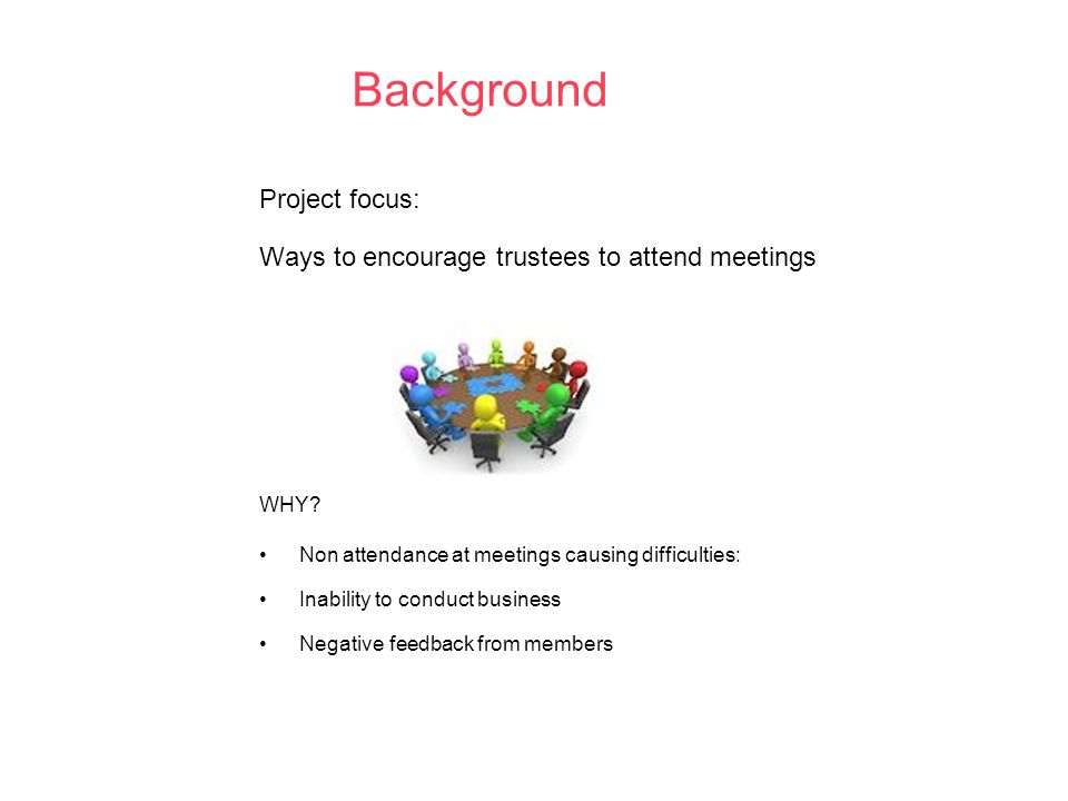 Background Project focus: Ways to encourage trustees to attend meetings WHY.