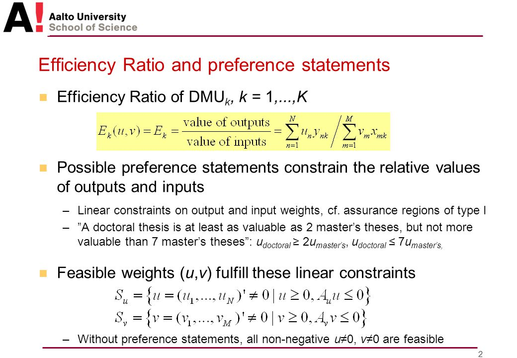 3 Efficiency Ratio in CCR-DEA n Efficient DMUs maximize Efficiency Ratio with some (u,v) –For any (u,v), let E * (u,v) = max {E 1 (u,v),...,E K (u,v)} n Efficiency score of DMU k is max u,v [E k (u,v)/E * (u,v)] –Based on comparisons with one weights, with one DMU –Order of two DMUs' efficiency scores can depend on what other DMUs are considered –Does not show how 'bad' a DMU can be –Efficiency score of an efficient DMU is 1 n DMU 1 and DMU 3 are efficient –If DMU 5 is included, then DMU 2 becomes more efficient than DMU 3 in terms of efficiency score E1E1 E2E2 E3E3 E4E4 E*E* E 1 / E * =1 E E 4 / E * =0.82 u1u1 E5E5 E 3 / E * =1 E 3 / E * =0.98 2 outputs, 1 input