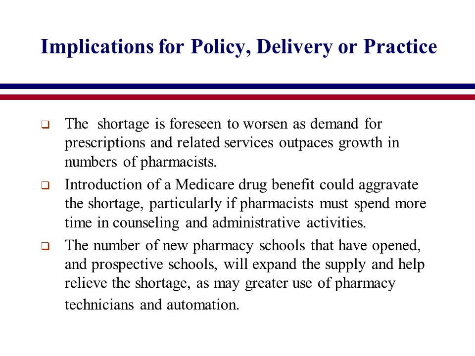 Implications for Policy, Delivery or Practice  The shortage is foreseen to worsen as demand for prescriptions and related services outpaces growth in numbers of pharmacists.
