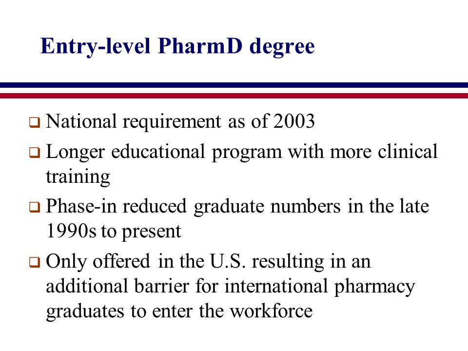 Entry-level PharmD degree  National requirement as of 2003  Longer educational program with more clinical training  Phase-in reduced graduate numbers in the late 1990s to present  Only offered in the U.S.