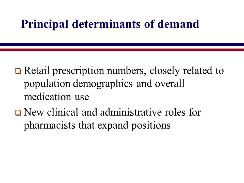 Principal determinants of demand  Retail prescription numbers, closely related to population demographics and overall medication use  New clinical and administrative roles for pharmacists that expand positions