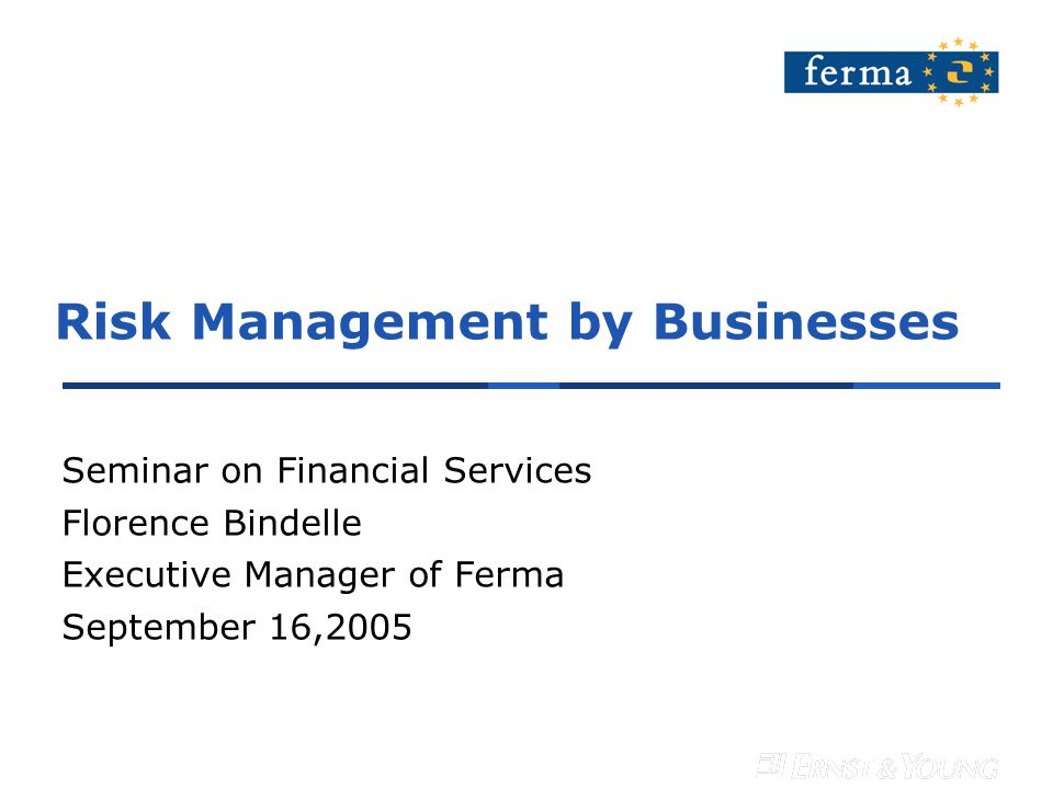 Risk Management by Businesses Seminar on Financial Services Florence Bindelle Executive Manager of Ferma September 16,2005