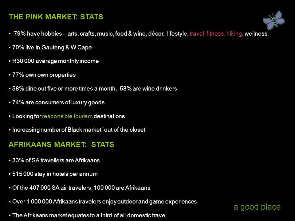 a good place THE PINK MARKET: STATS 79% have hobbies – arts, crafts, music, food & wine, décor, lifestyle, travel, fitness, hiking, wellness. 70% live