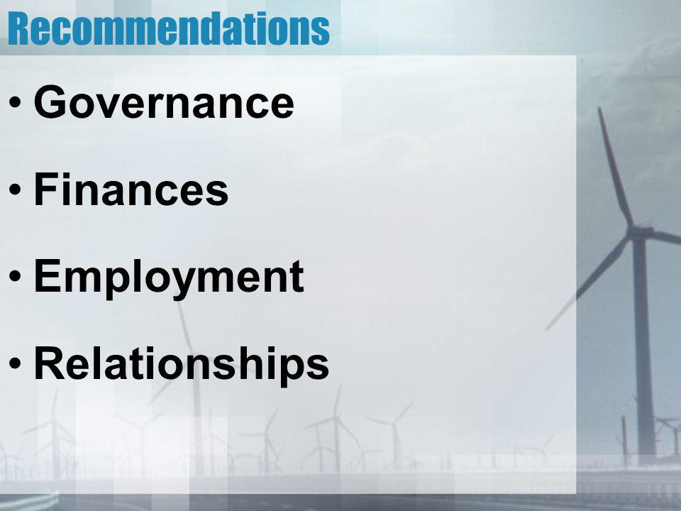 Recommendations Governance Finances Employment Relationships