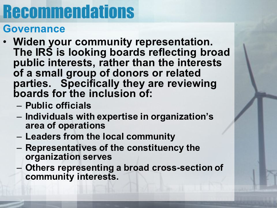Recommendations Governance Widen your community representation.