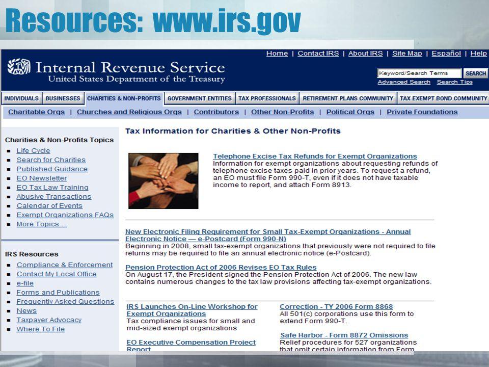 Resources: www.irs.gov