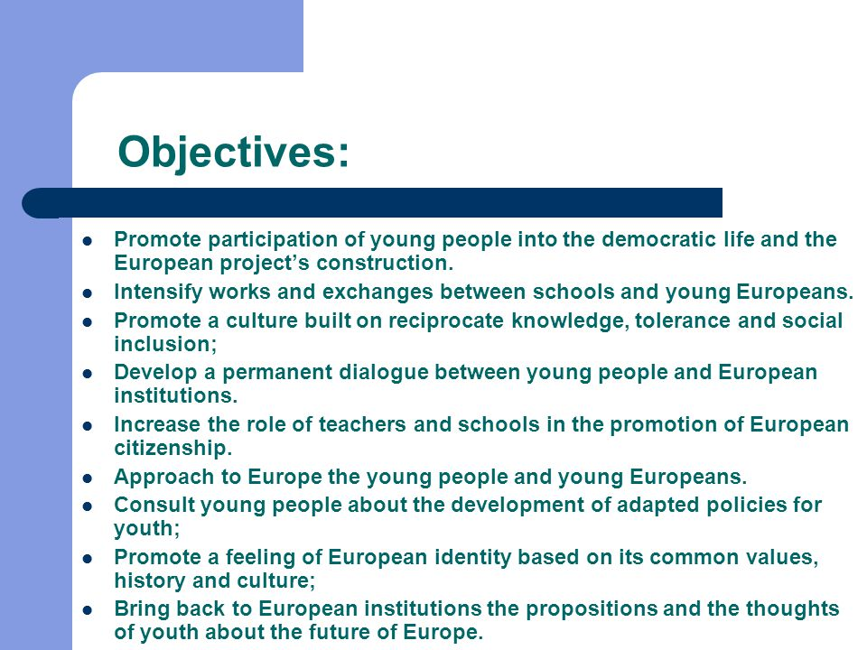 Objectives: Promote participation of young people into the democratic life and the European project's construction.