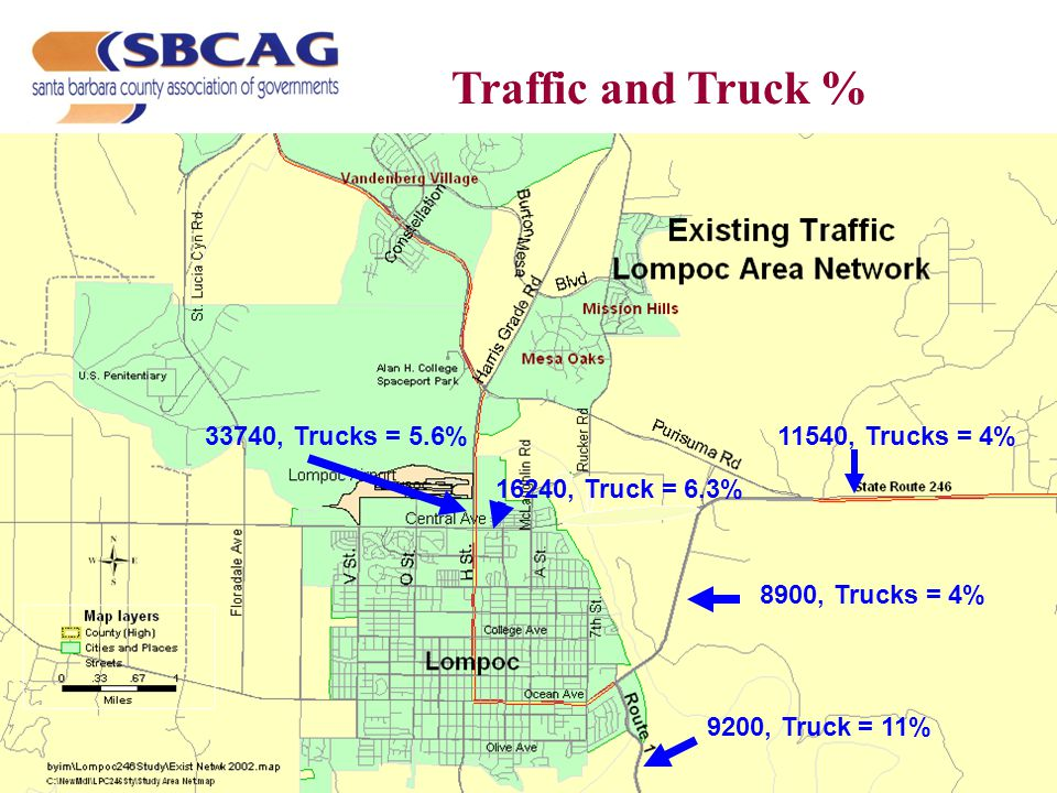 8900, Trucks = 4% 11540, Trucks = 4% 9200, Truck = 11% 33740, Trucks = 5.6% 16240, Truck = 6.3% Traffic and Truck %