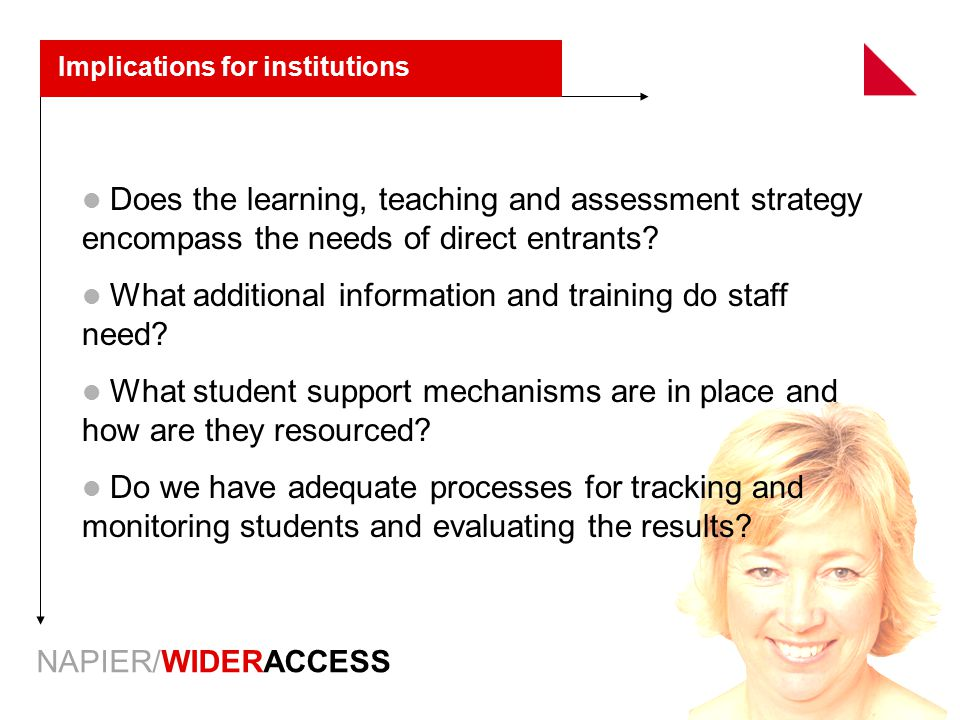 NAPIER/WIDERACCESS Implications for institutions Does the learning, teaching and assessment strategy encompass the needs of direct entrants.