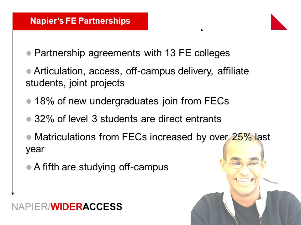 NAPIER/WIDERACCESS Napier's FE Partnerships Partnership agreements with 13 FE colleges Articulation, access, off-campus delivery, affiliate students,