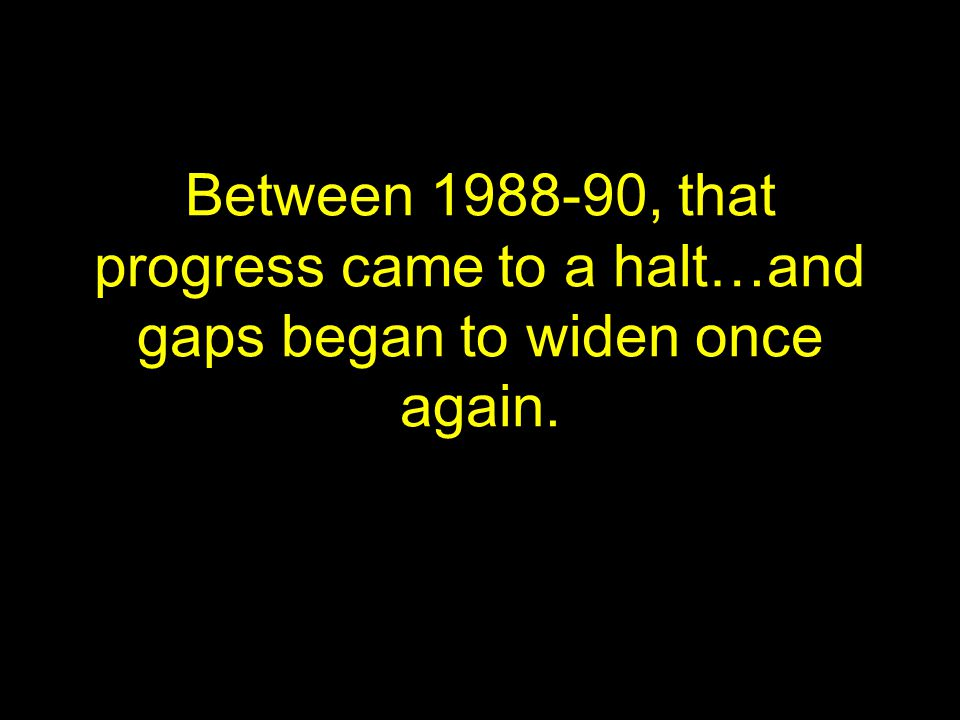 Between 1988-90, that progress came to a halt…and gaps began to widen once again.