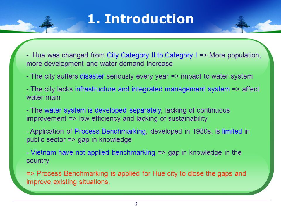 3 1. Introduction - Hue was changed from City Category II to Category I => More population, more development and water demand increase - The city suff