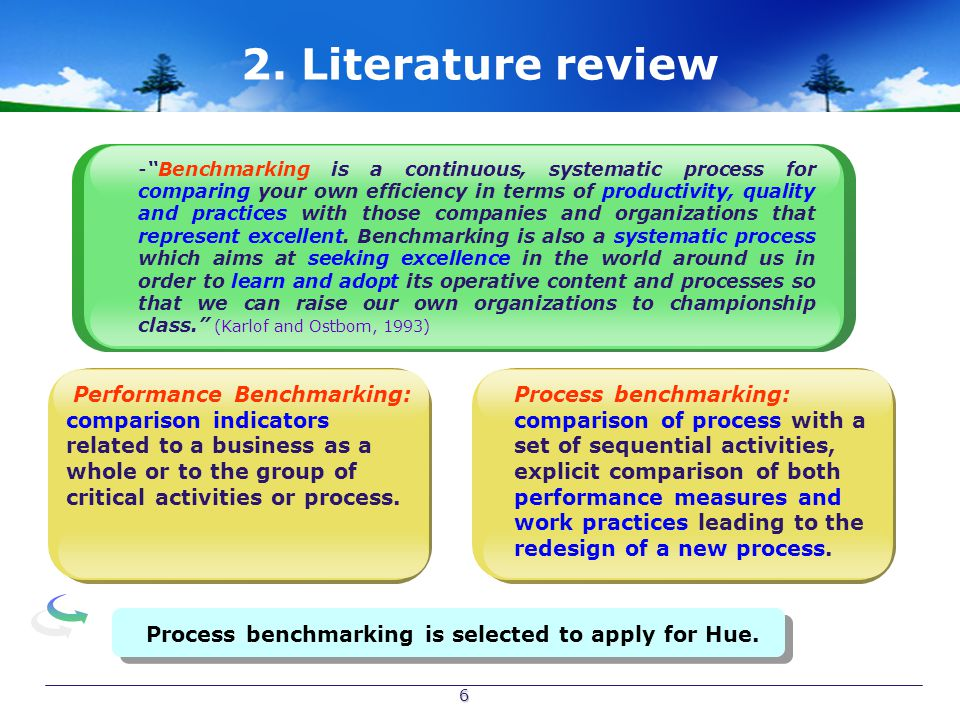 """6 2. Literature review - -""""Benchmarking is a continuous, systematic process for comparing your own efficiency in terms of productivity, quality and pr"""