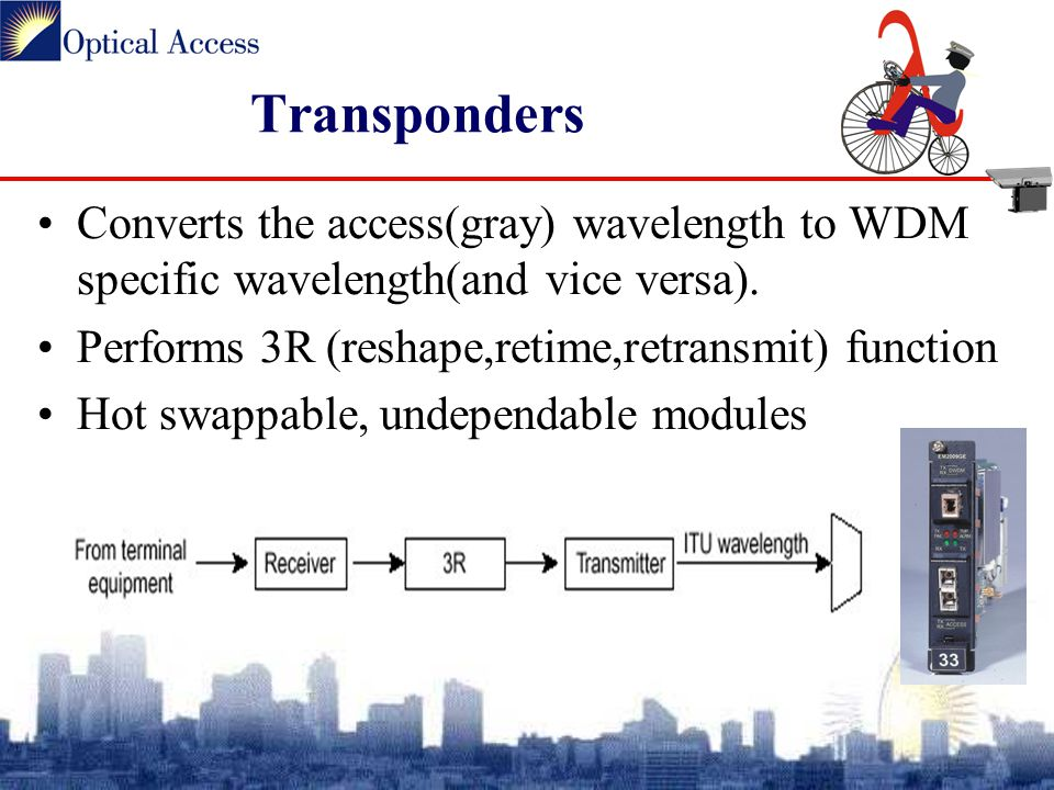 Transponders Converts the access(gray) wavelength to WDM specific wavelength(and vice versa).