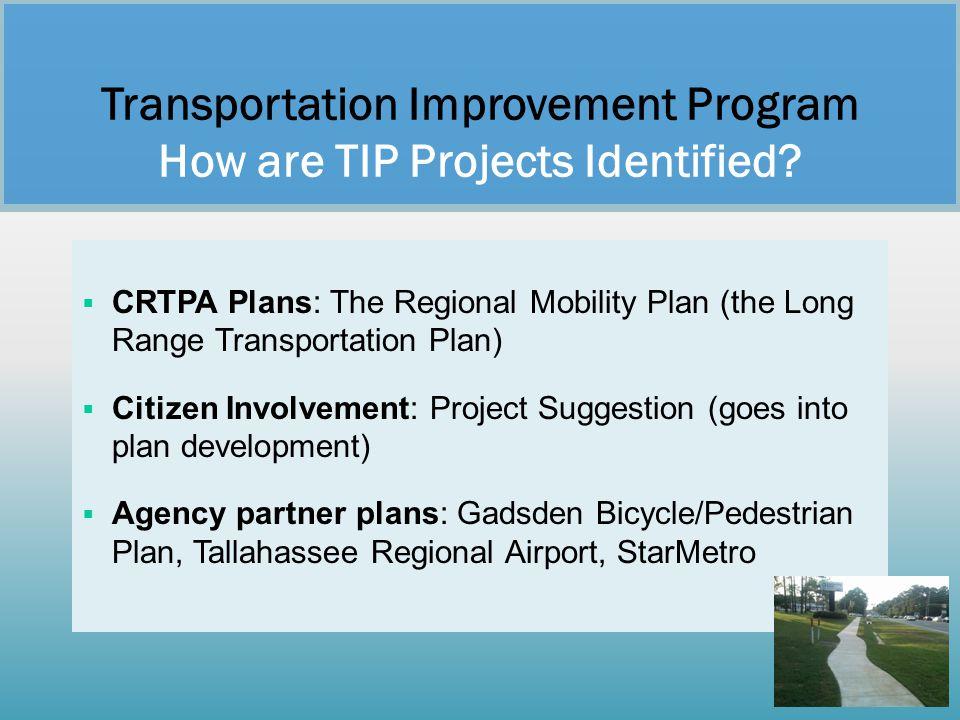  CRTPA Plans: The Regional Mobility Plan (the Long Range Transportation Plan)  Citizen Involvement: Project Suggestion (goes into plan development)