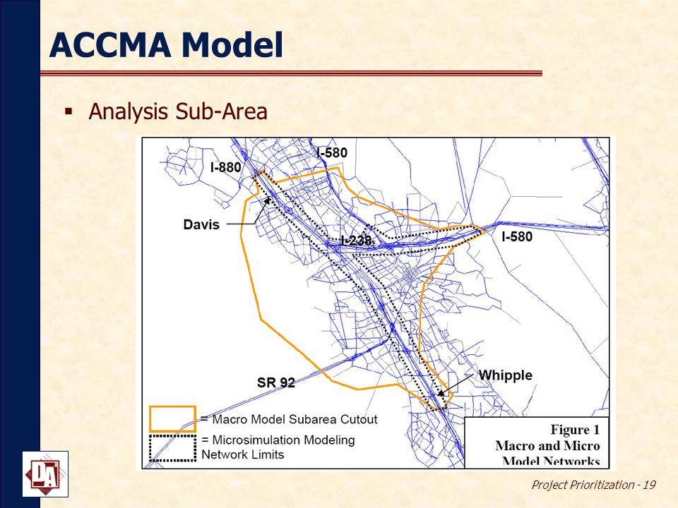 Project Prioritization - 19 ACCMA Model  Analysis Sub-Area