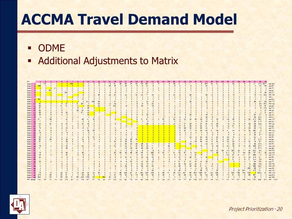 Project Prioritization - 20 ACCMA Travel Demand Model  ODME  Additional Adjustments to Matrix