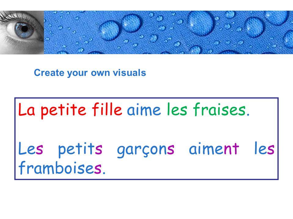 Page 7 Create your own visuals La petite fille aime les fraises.