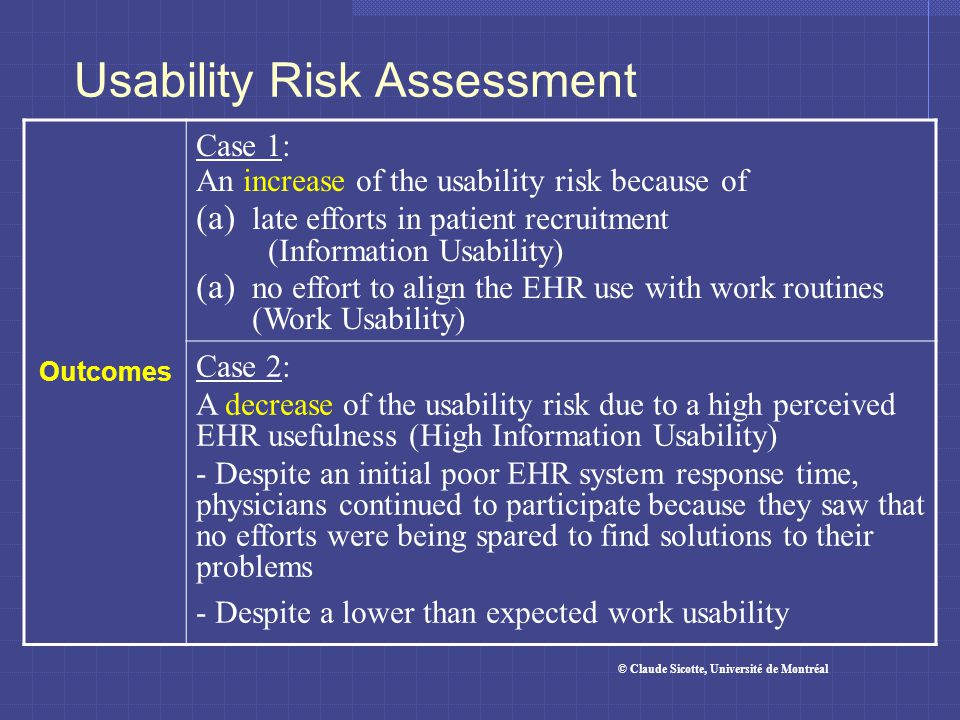 Usability Risk Assessment Outcomes Case 1: An increase of the usability risk because of (a) late efforts in patient recruitment (Information Usability) (a) no effort to align the EHR use with work routines (Work Usability) Case 2: A decrease of the usability risk due to a high perceived EHR usefulness (High Information Usability) - Despite an initial poor EHR system response time, physicians continued to participate because they saw that no efforts were being spared to find solutions to their problems - Despite a lower than expected work usability © Claude Sicotte, Université de Montréal