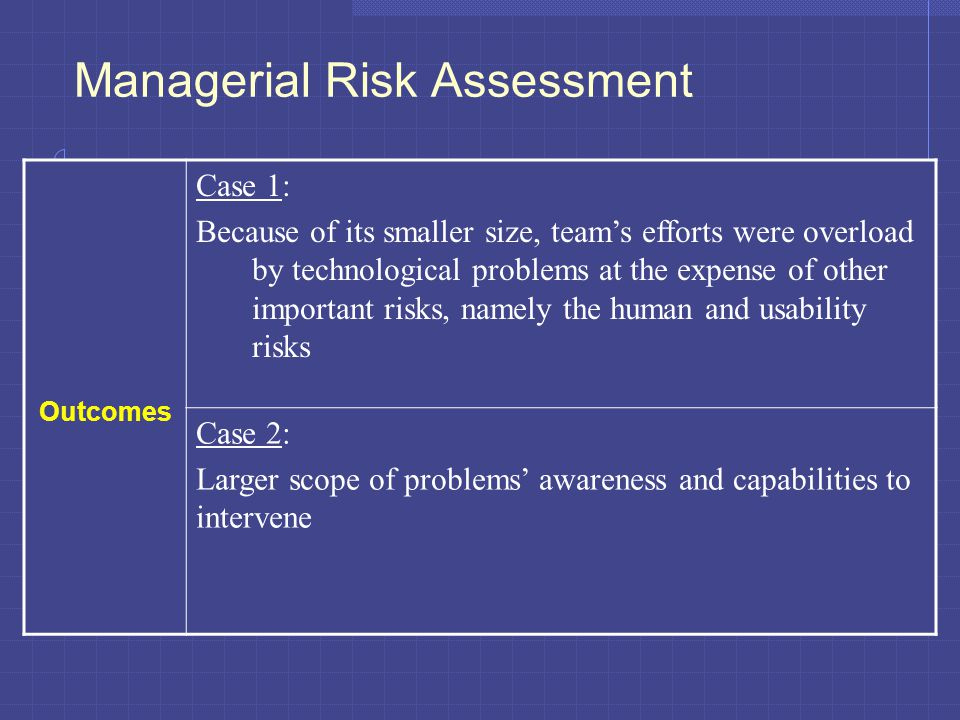 Managerial Risk Assessment Outcomes Case 1: Because of its smaller size, team's efforts were overload by technological problems at the expense of other important risks, namely the human and usability risks Case 2: Larger scope of problems' awareness and capabilities to intervene