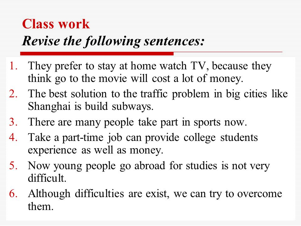 Study the following sentences.1.