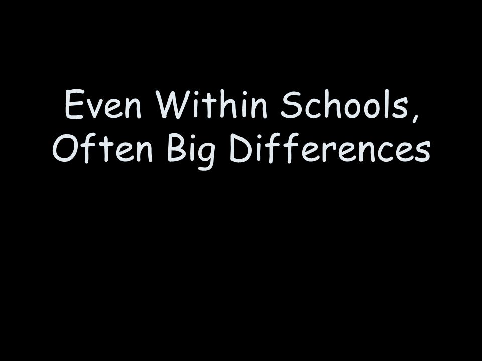 Even Within Schools, Often Big Differences