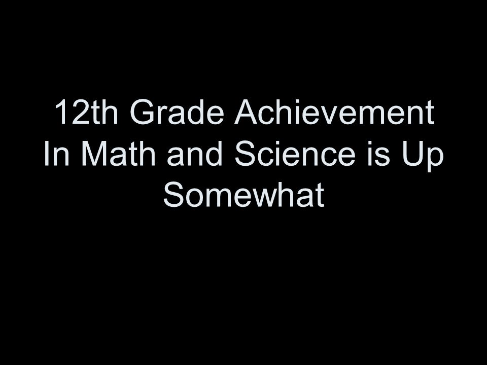 12th Grade Achievement In Math and Science is Up Somewhat