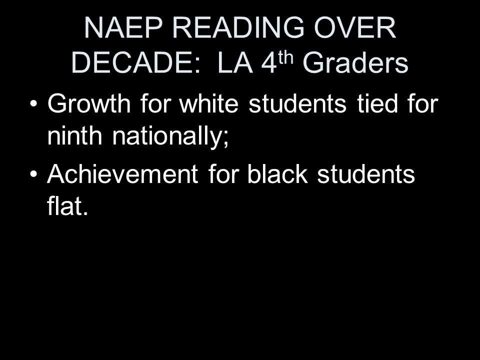 NAEP READING OVER DECADE: LA 4 th Graders Growth for white students tied for ninth nationally; Achievement for black students flat.