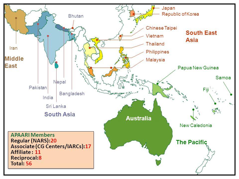 4 South Asia Pakistan India Sri Lanka Nepal Bangladesh Malaysia Philippines Thailand Vietnam Chinese Taipei Republic of Korea Japan South East Asia Australia The Pacific Papua New Guinea Fiji Samoa New Caledonia Middle East Iran Bhutan APAARI Members Regular (NARS):20 Associate (CG Centers/IARCs):17 Affiliate : 11 Reciprocal:8 Total: 56 APAARI Members Regular (NARS):20 Associate (CG Centers/IARCs):17 Affiliate : 11 Reciprocal:8 Total: 56
