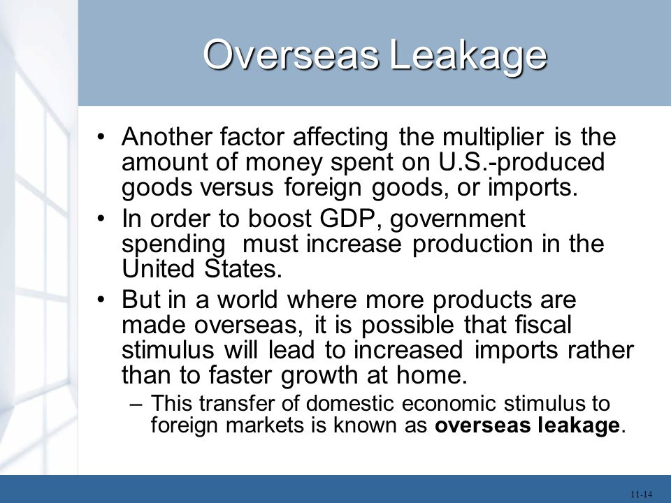 Overseas Leakage Another factor affecting the multiplier is the amount of money spent on U.S.-produced goods versus foreign goods, or imports. In orde