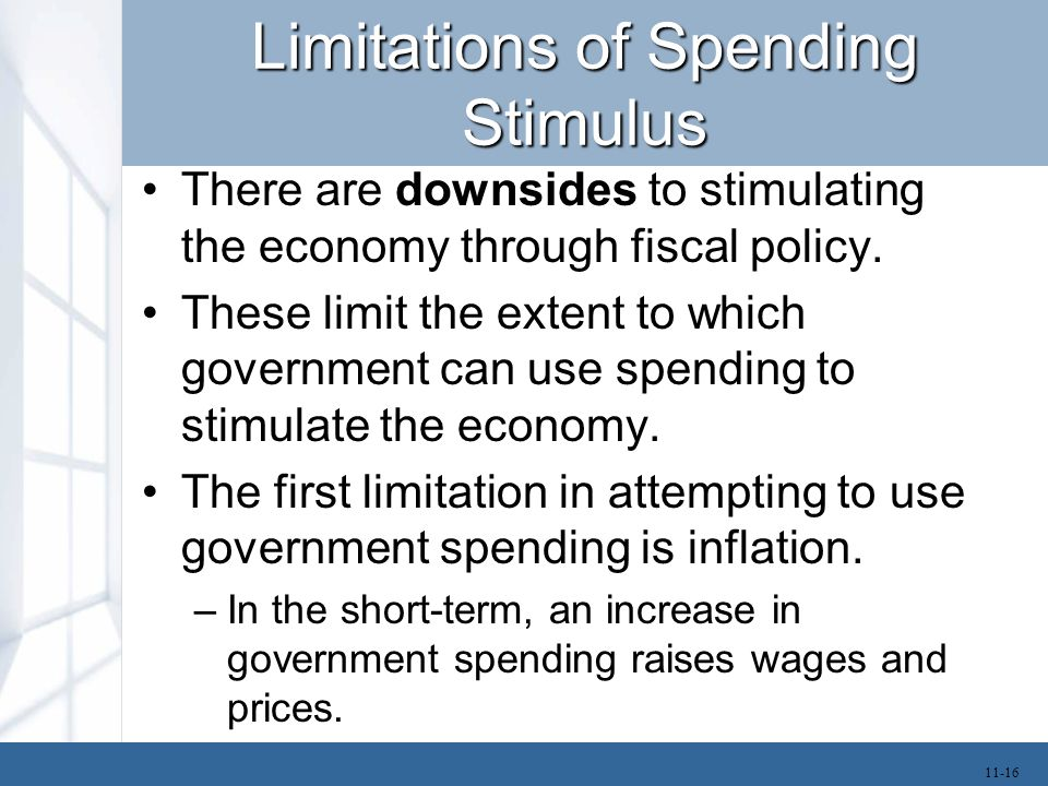 Limitations of Spending Stimulus There are downsides to stimulating the economy through fiscal policy. These limit the extent to which government can