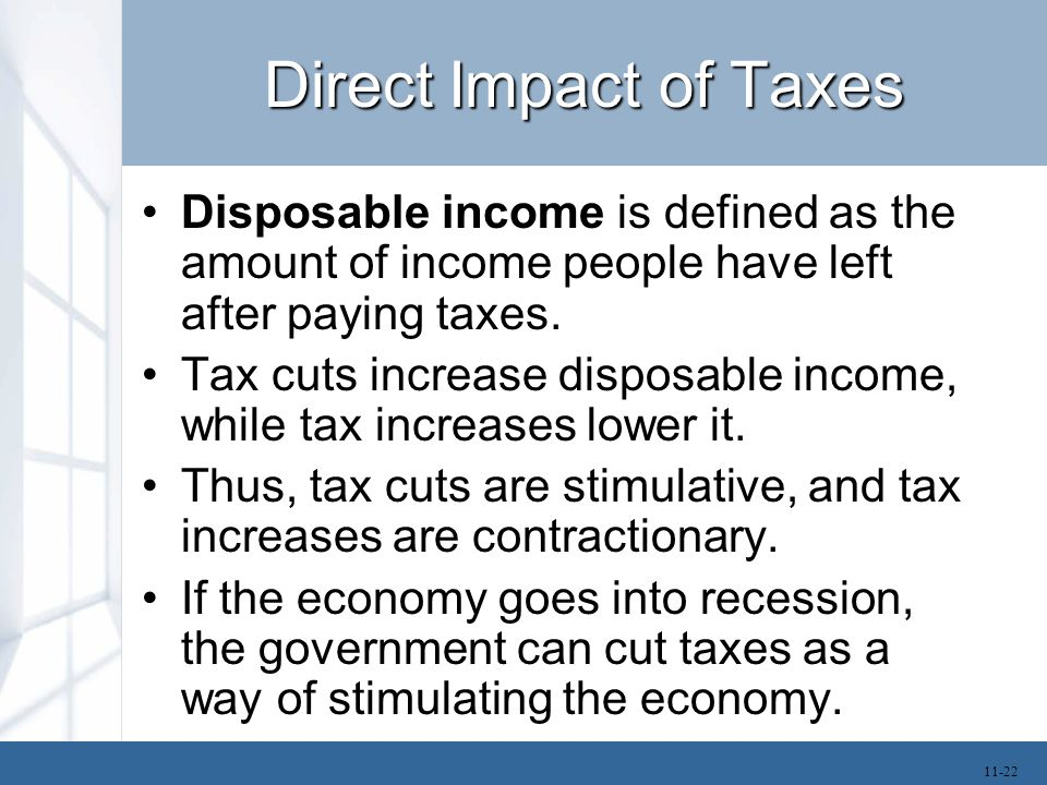 Direct Impact of Taxes Disposable income is defined as the amount of income people have left after paying taxes. Tax cuts increase disposable income,
