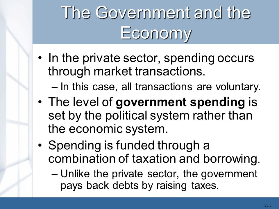 The Government and the Economy In the private sector, spending occurs through market transactions. –In this case, all transactions are voluntary. The