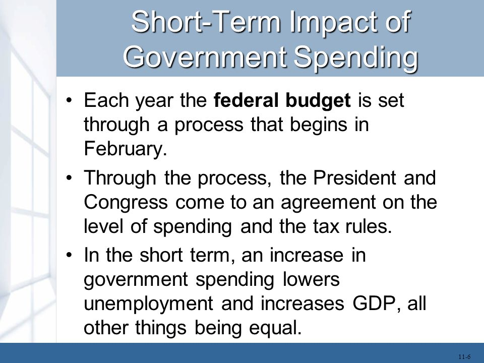 Short-Term Impact of Government Spending Each year the federal budget is set through a process that begins in February. Through the process, the Presi