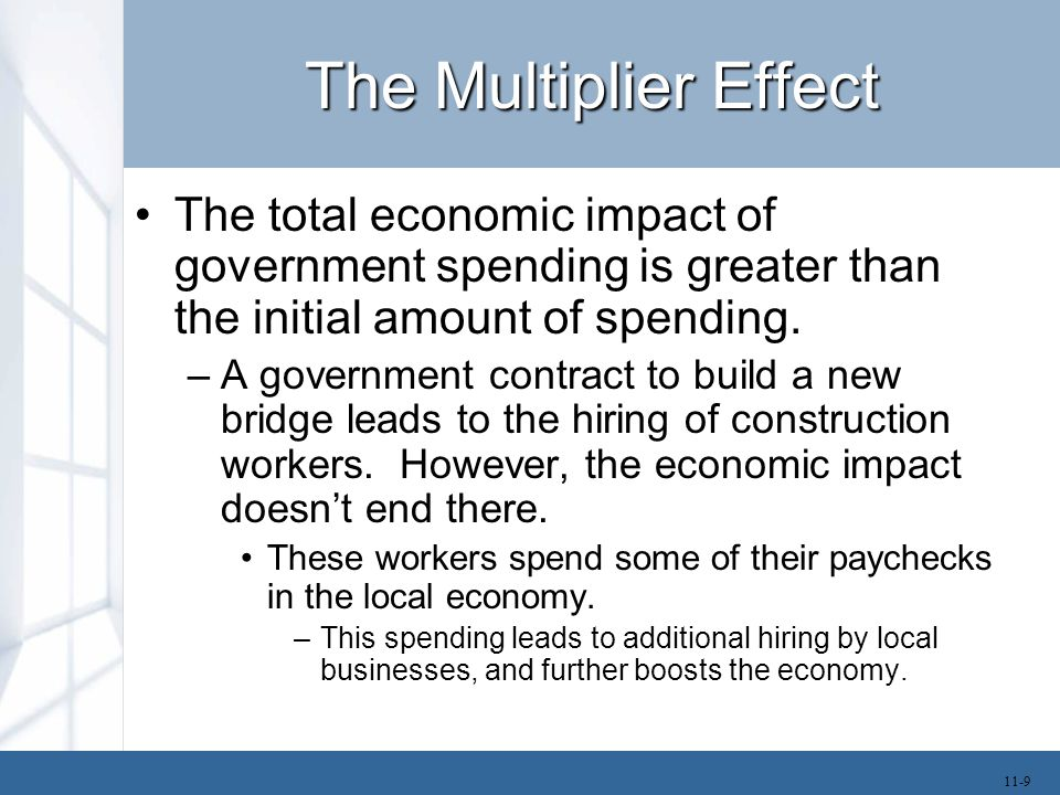 The Multiplier Effect The total economic impact of government spending is greater than the initial amount of spending. –A government contract to build