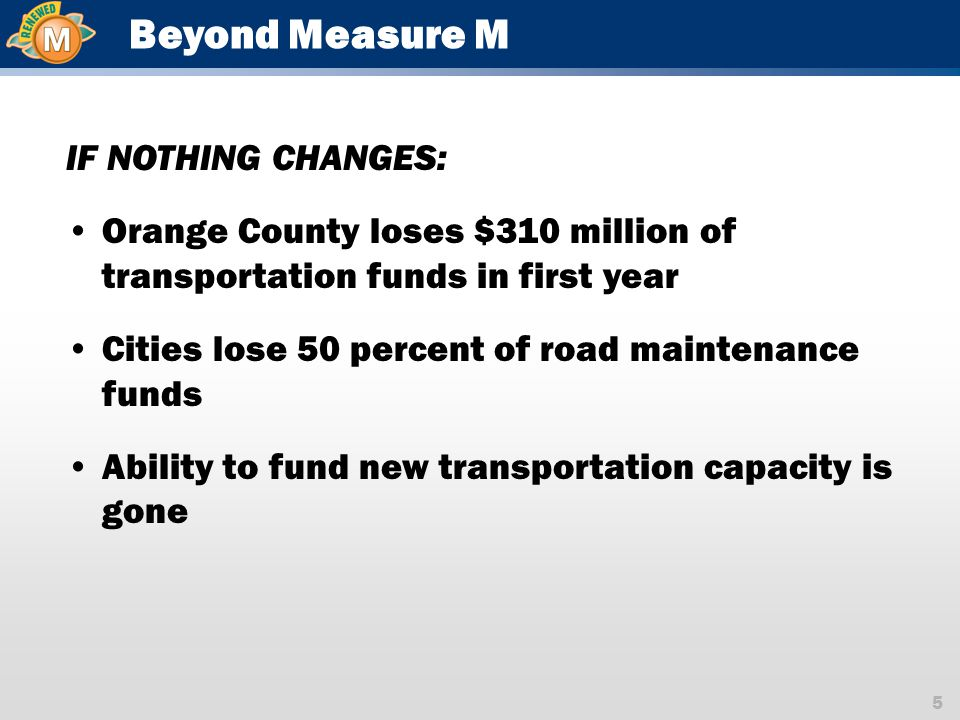 5 Beyond Measure M IF NOTHING CHANGES: Orange County loses $310 million of transportation funds in first year Cities lose 50 percent of road maintenance funds Ability to fund new transportation capacity is gone