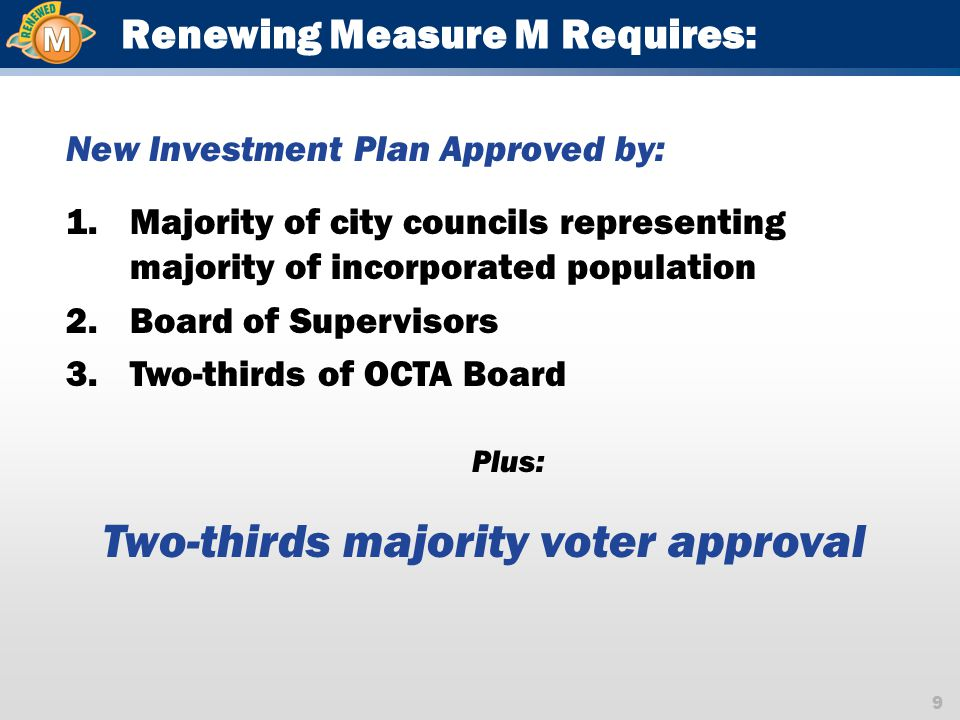 9 Renewing Measure M Requires: New Investment Plan Approved by: 1.Majority of city councils representing majority of incorporated population 2.Board of Supervisors 3.Two-thirds of OCTA Board Plus: Two-thirds majority voter approval