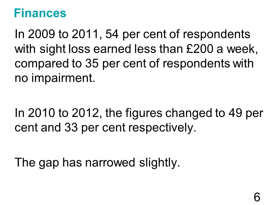 Finances In 2009 to 2011, 54 per cent of respondents with sight loss earned less than £200 a week, compared to 35 per cent of respondents with no impa