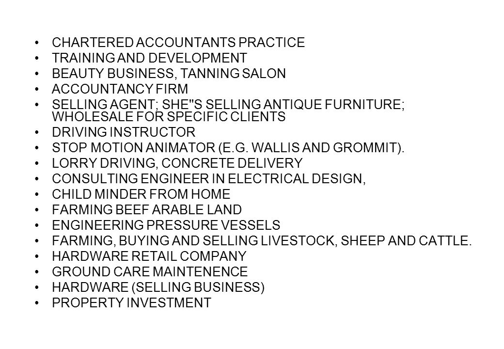 CHARTERED ACCOUNTANTS PRACTICE TRAINING AND DEVELOPMENT BEAUTY BUSINESS, TANNING SALON ACCOUNTANCY FIRM SELLING AGENT; SHE S SELLING ANTIQUE FURNITURE; WHOLESALE FOR SPECIFIC CLIENTS DRIVING INSTRUCTOR STOP MOTION ANIMATOR (E.G.