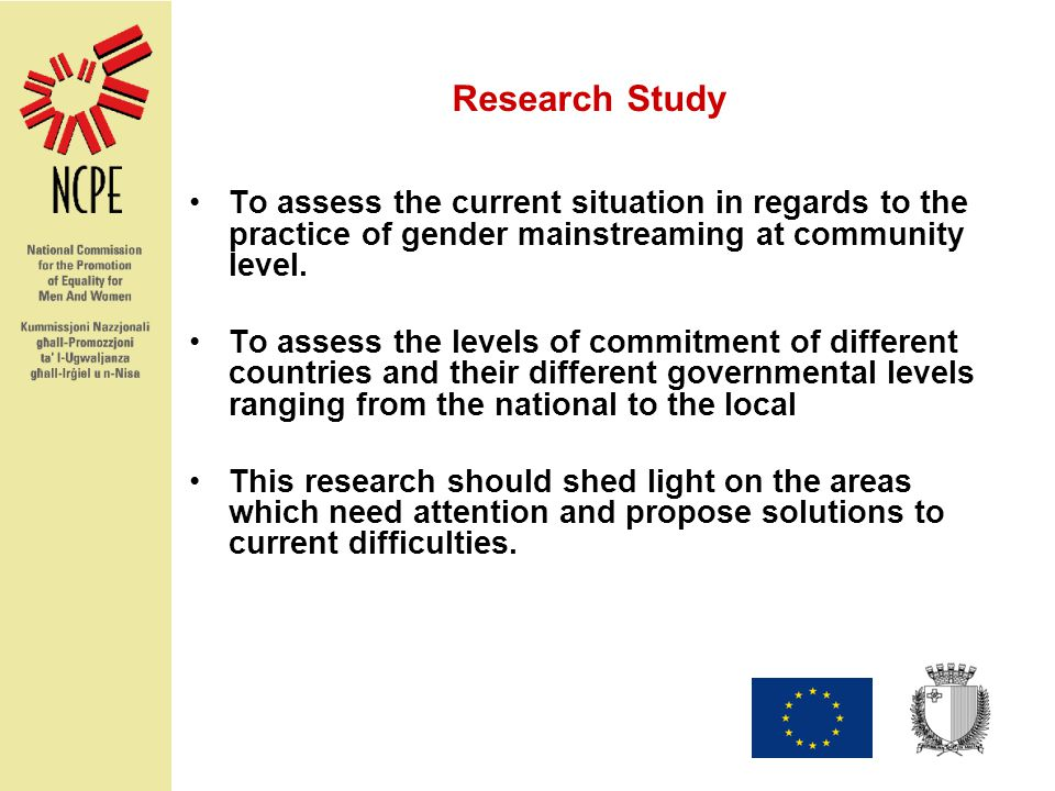 Research Study To assess the current situation in regards to the practice of gender mainstreaming at community level.