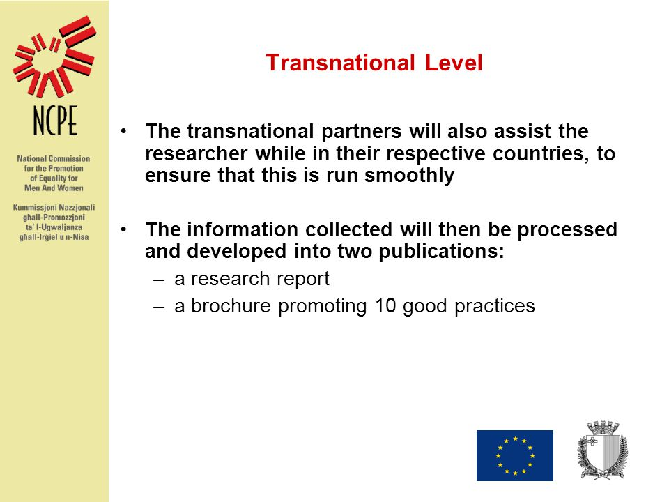 Transnational Level The transnational partners will also assist the researcher while in their respective countries, to ensure that this is run smoothly The information collected will then be processed and developed into two publications: –a research report –a brochure promoting 10 good practices