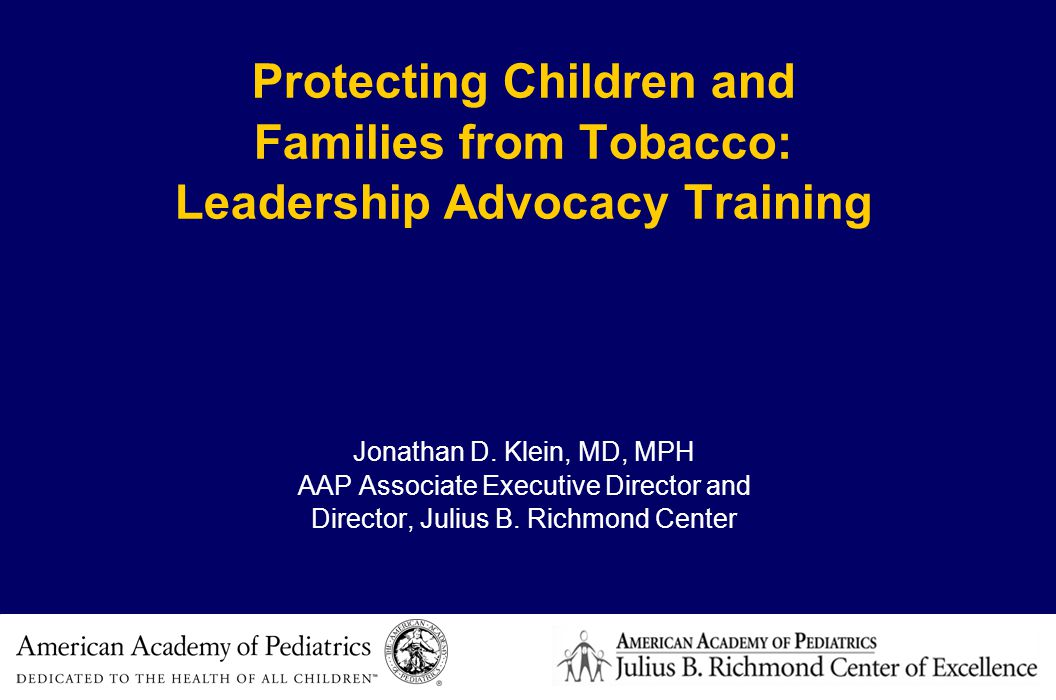 Community and public health Make tobacco control for children and youth a priority –Include secondhand smoke –Headstart, schools, housing, etc.