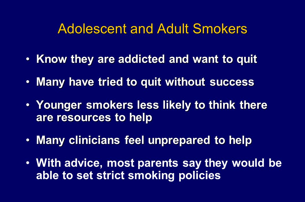 Adolescent and Adult Smokers Know they are addicted and want to quitKnow they are addicted and want to quit Many have tried to quit without successMan