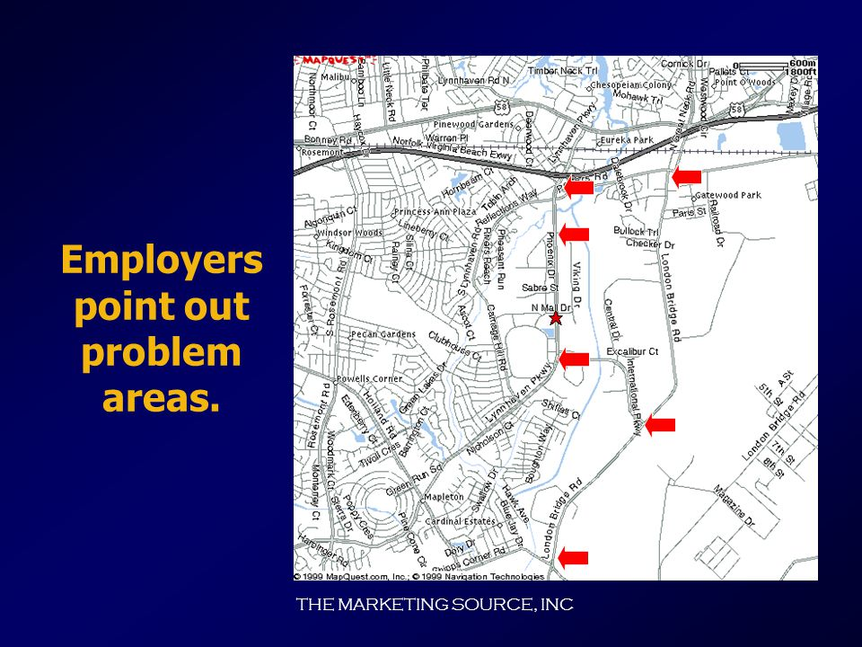 THE MARKETING SOURCE, INC When asked to identify the traffic problem areas... Employers mentioned the following trouble spots: Evenings  I-264 West L